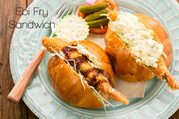 Ebi Fry Sandwich on a plate.