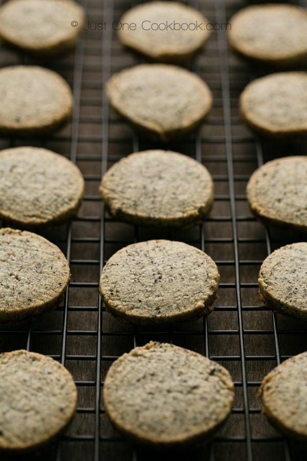 Sesame Cookies on a baking rack.