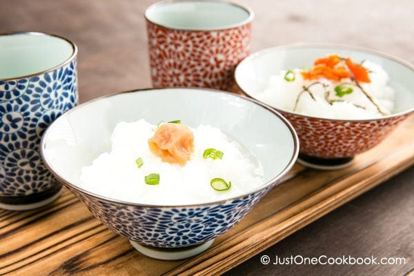 Rice Porridge, Okayu in rice bowls.