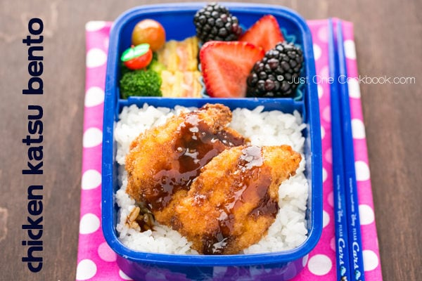 Chicken Katsu Bento with rice, egg, broccoli and fruit.