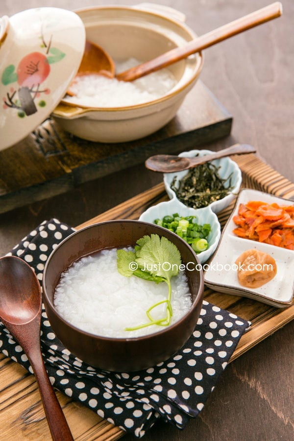 Rice Porridge, Okayu in a bowl and pot and topping on a side.
