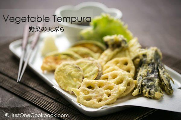 Vegetable Tempura on a white plate.
