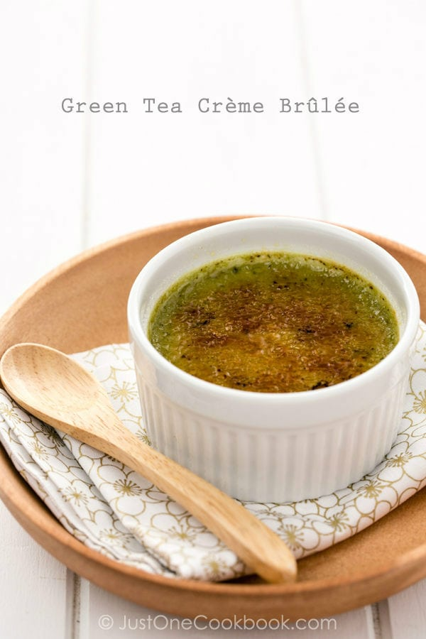 Green Tea Creme Brulee in a white cup.
