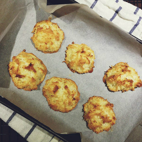 Coconut Macaroons on a baking sheet.