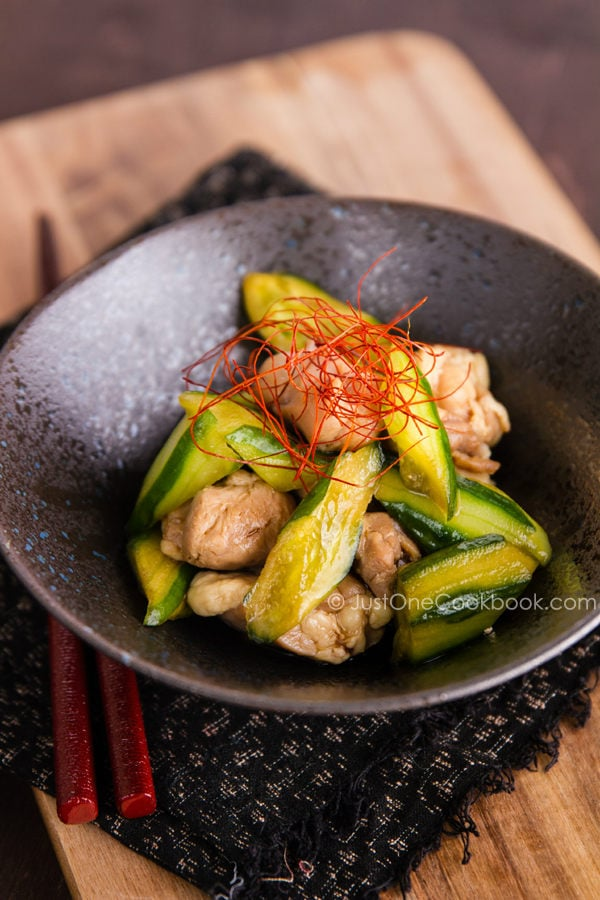 Cucumber and Chicken Marinated in Chili Oil | JustOneCookbook.com