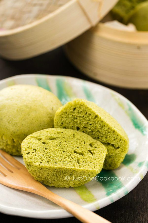 Green Tea Steamed Cake on a small plate.