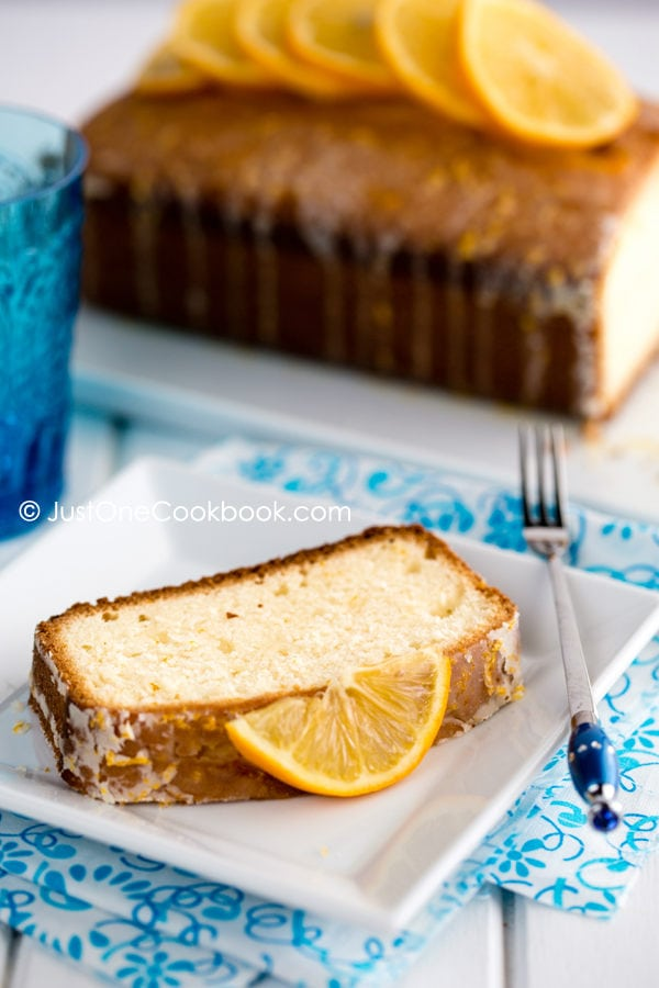 Meyer Lemon Pound Cake on a plate.