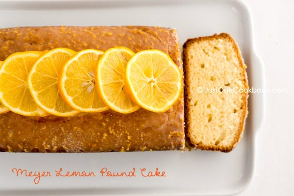 Meyer Lemon Pound Cake on a white tray.
