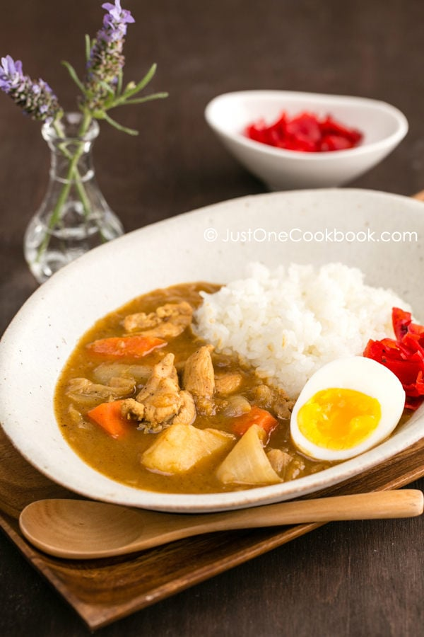 Japanese Chicken Curry with white rice on a plate.