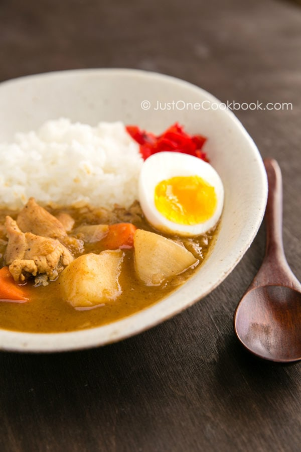 Japanese Curry with white rice on the plate.