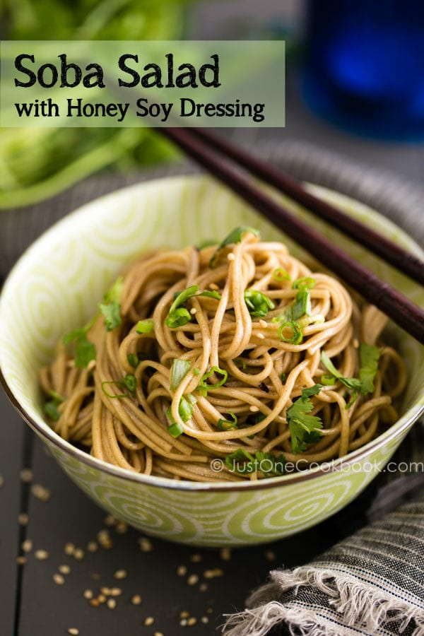 Soba Salad with Honey Soy Dressing in Japanese bowl on the wooden table.