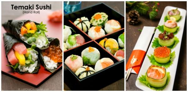 Sushi on plates.