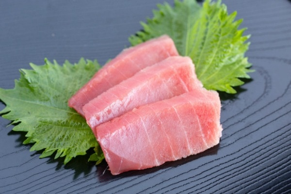 Sashimi grade Tuna on a plate.