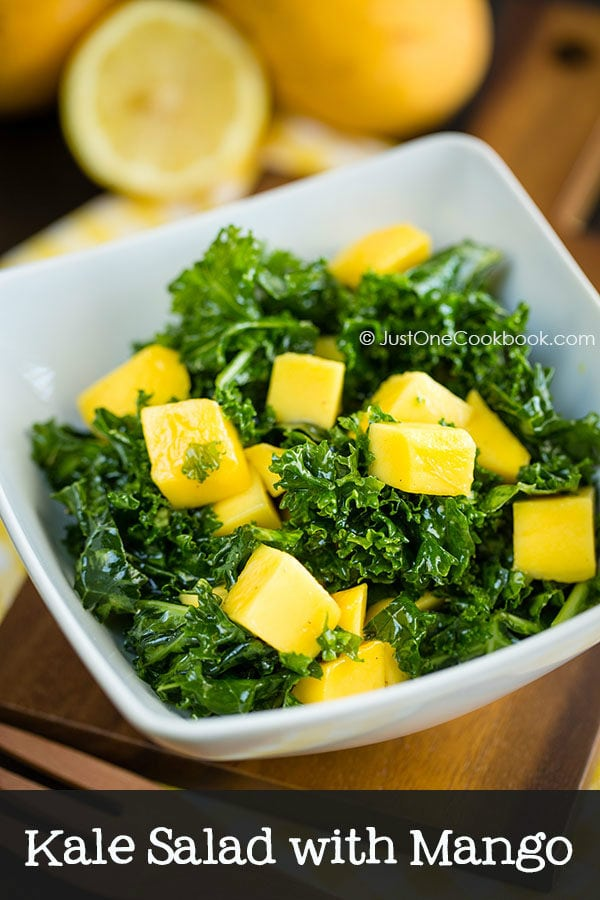 Massaged Kale Salad With Mango Easy Japanese Recipes At Justonecookbook Com