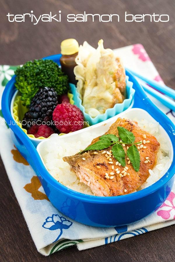 Teriyaki Salmon Bento with gyoza, broccoli and berries.