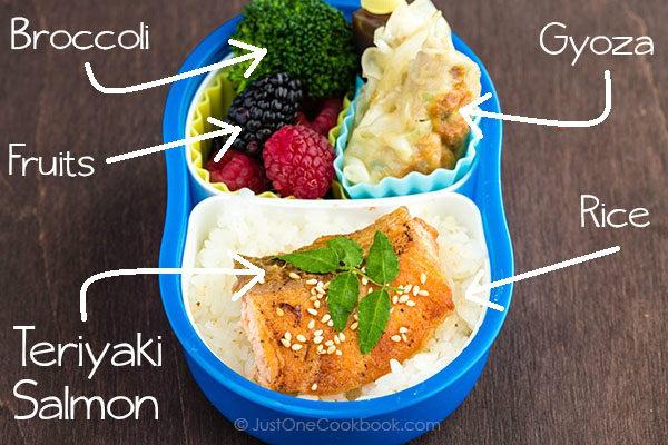 Teriyaki Salmon Bento on a table.