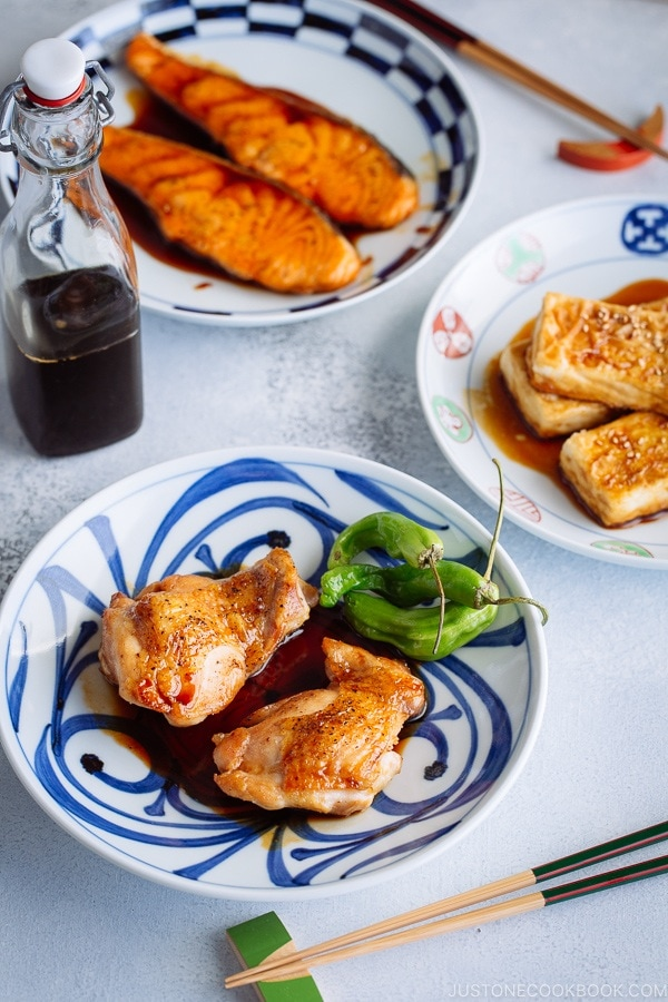 Teriyaki Salmon, Tofu, and Chicken made with homemade Teriyaki Sauce.