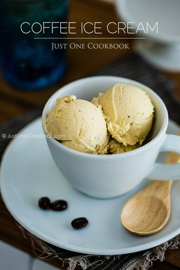 Coffee Ice Cream in a white cup.