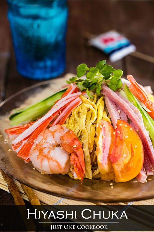 Hiyashi Chuka, Cold Ramen with vegetable and seafood on a glass plate.