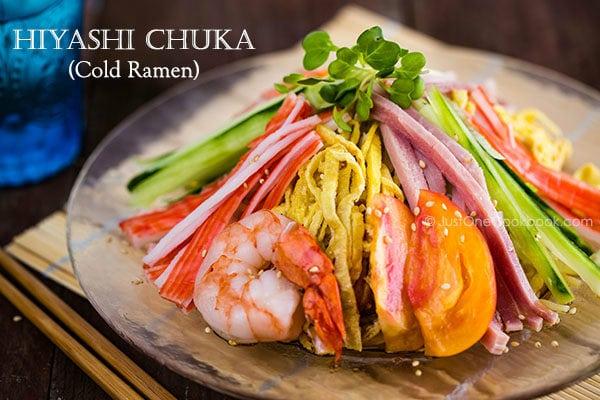Hiyashi Chuka Cold Ramen on a glass plate.