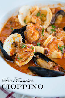 flavorful seafood stew cioppino recipe originated from San Fransisco