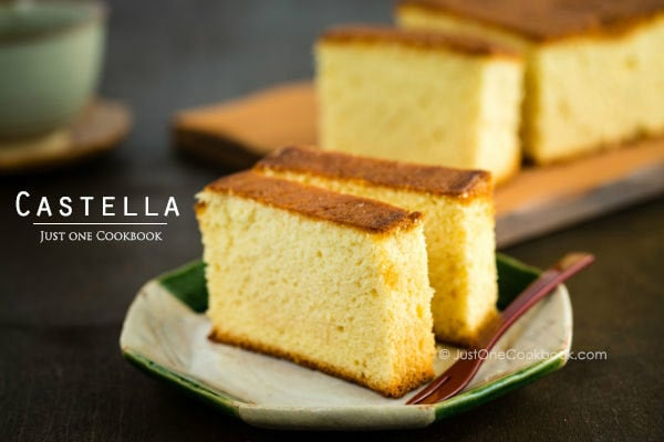 Castella on plates.