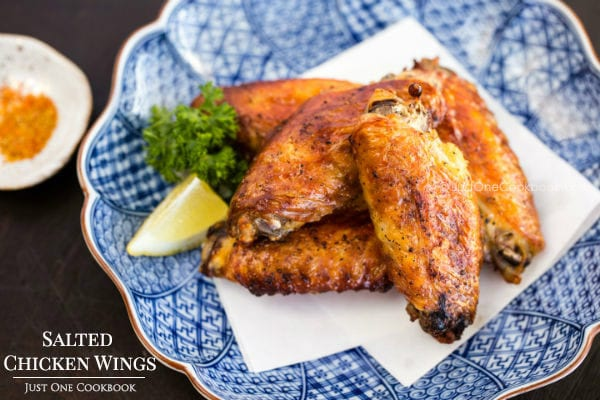 Japanese Salted Chicken Wings on a plate.
