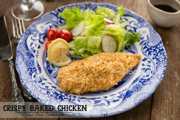 Crispy Baked Chicken and salads on a plate.