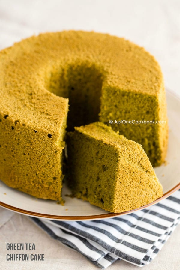 Green Tea Chiffon Cake on a cake stand.