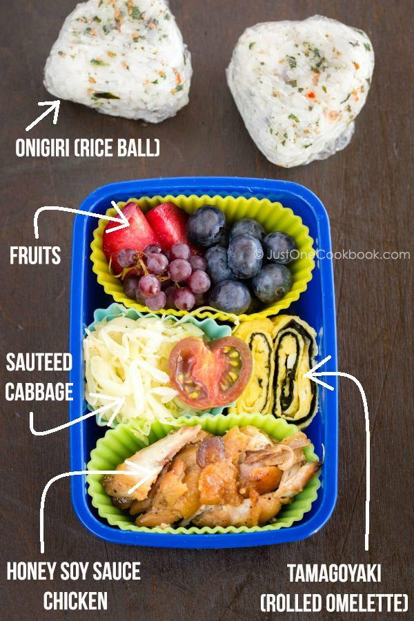 Honey Soy Sauce Chicken Bento and rice ball on a table.