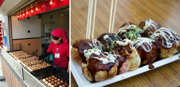 Takoyaki vendor and Takoyaki on the tray.