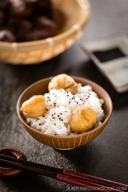 Chestnut rice kurigohan just one cookbook chestnut rice in a rice bowl forumfinder Choice Image