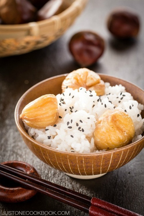 Chestnut Rice in a rice bowl.