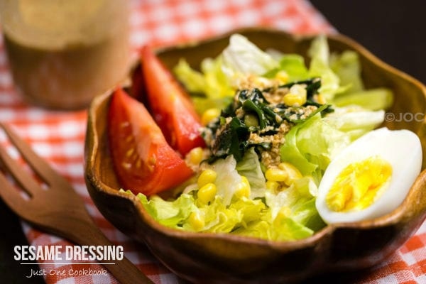 Sesame Dressing over green salad.