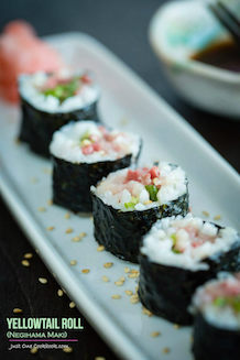 easy negihama maki sushi recipe. tender sushi grade yellowtail wrapped with rice and nori