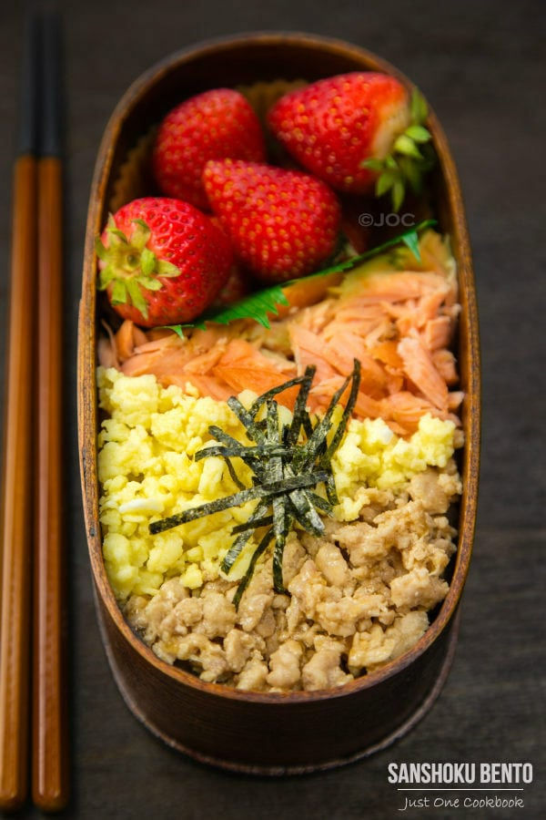 Sanshoku Bento, Three Color Bento in a wooden bento box.