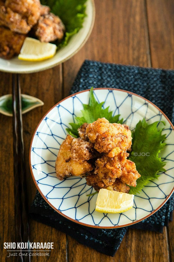 Shio Koji Karaage on plates.