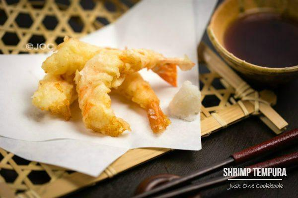 Shrimp Tempura on a bamboo basket.