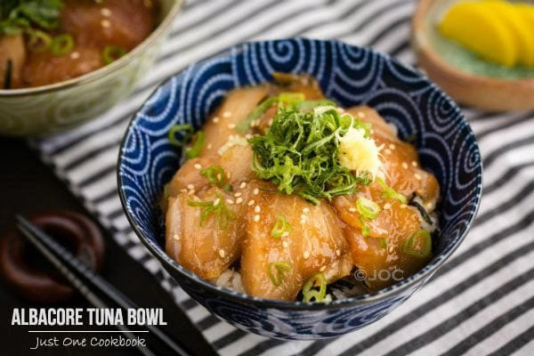 Albacore Tuna Bowls and daikon pickles on a table.