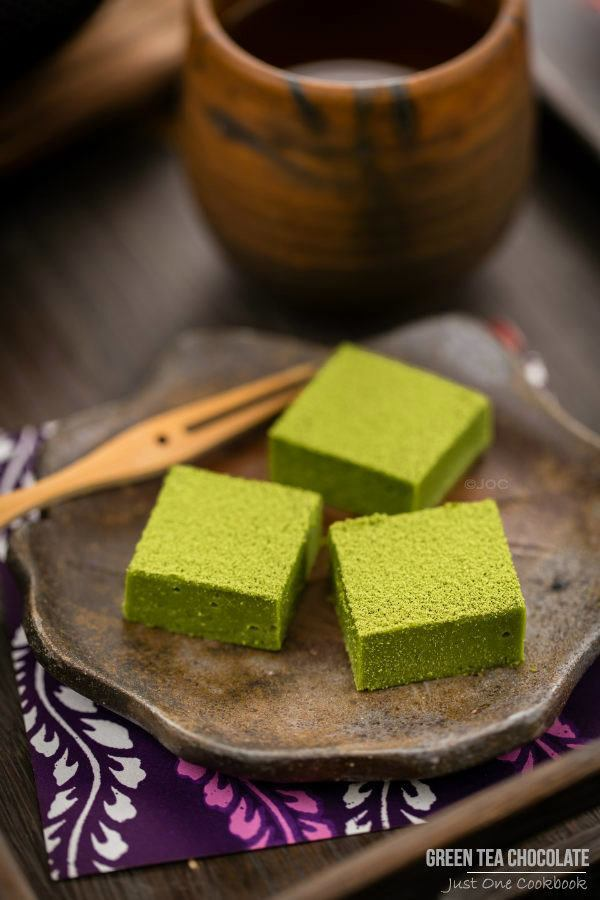 Green Tea Chocolate on a plate.
