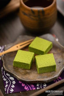 green tea chocolate on a plate.