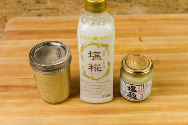 Shio Koji in bottle and jars.