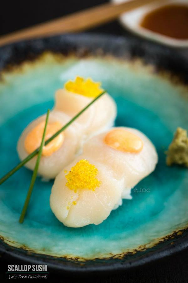 Scallop Sushi with Spicy Mayo and Yuzu Flavor Tobiko | Easy Japanese Recipes at JustOneCookbook.com