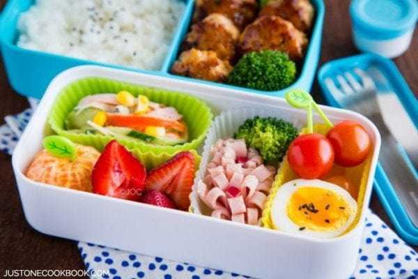 Chicken Meatball Bento in a bento box.