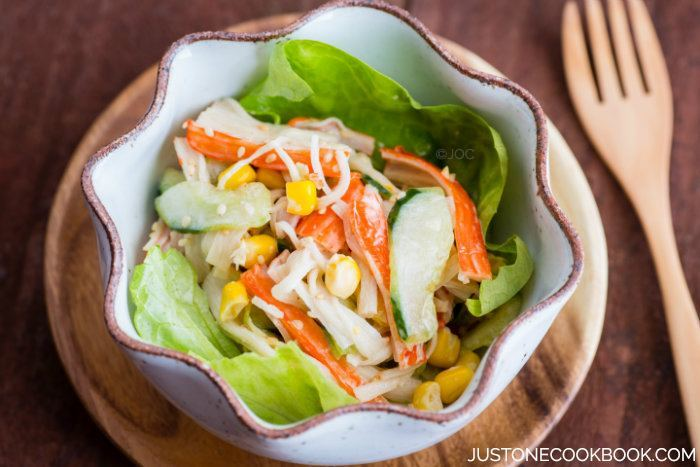 Crab Salad with Ponzu-Mayonnaise Dressing 蟹カマサラダ • Just ...