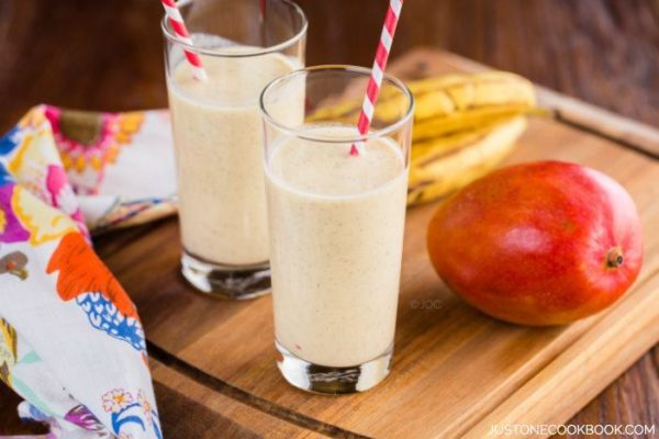 Mango Coconut Smoothie in glasses.