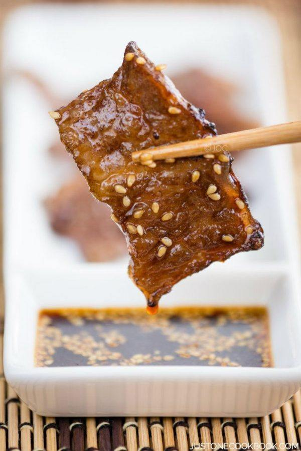 Sliced short rib dipped in Yakiniku Sauce.