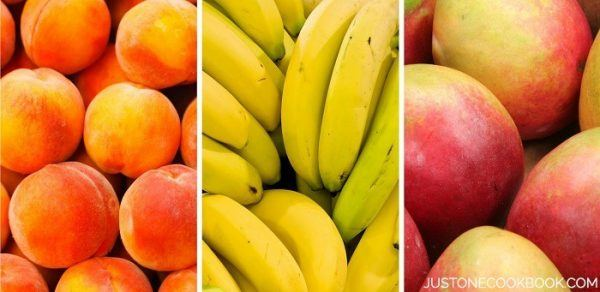 Peach, banana and mango.