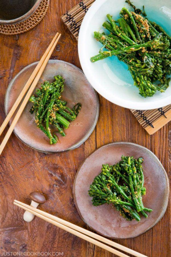 Broccolini Gomaae in plates.