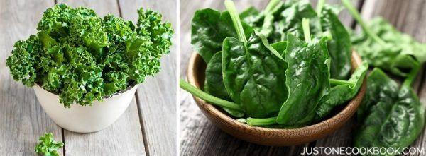 Leafy Greens in bowls.